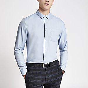 Blauw slim-fit  overhemd met lange mouwen en visgraatmotief