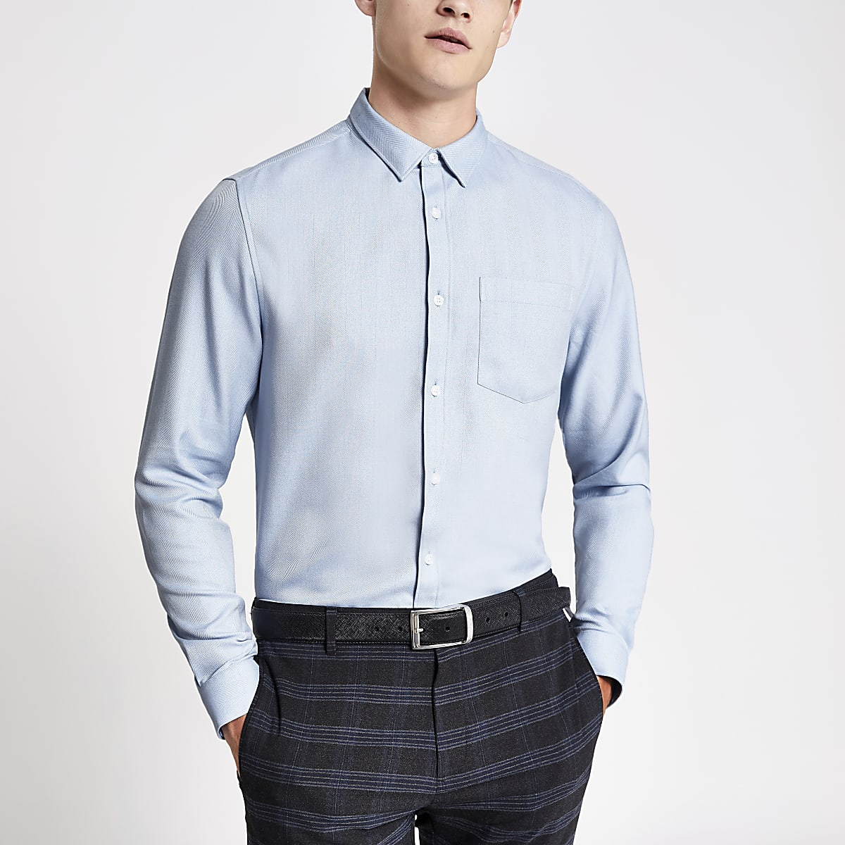 Blue slim fit herringbone long sleeve shirt