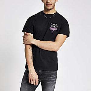 T-shirt noir à imprimé fleuri