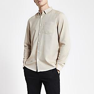 Kiezelkleurig slim-fit overhemd met textuur en lange mouwen
