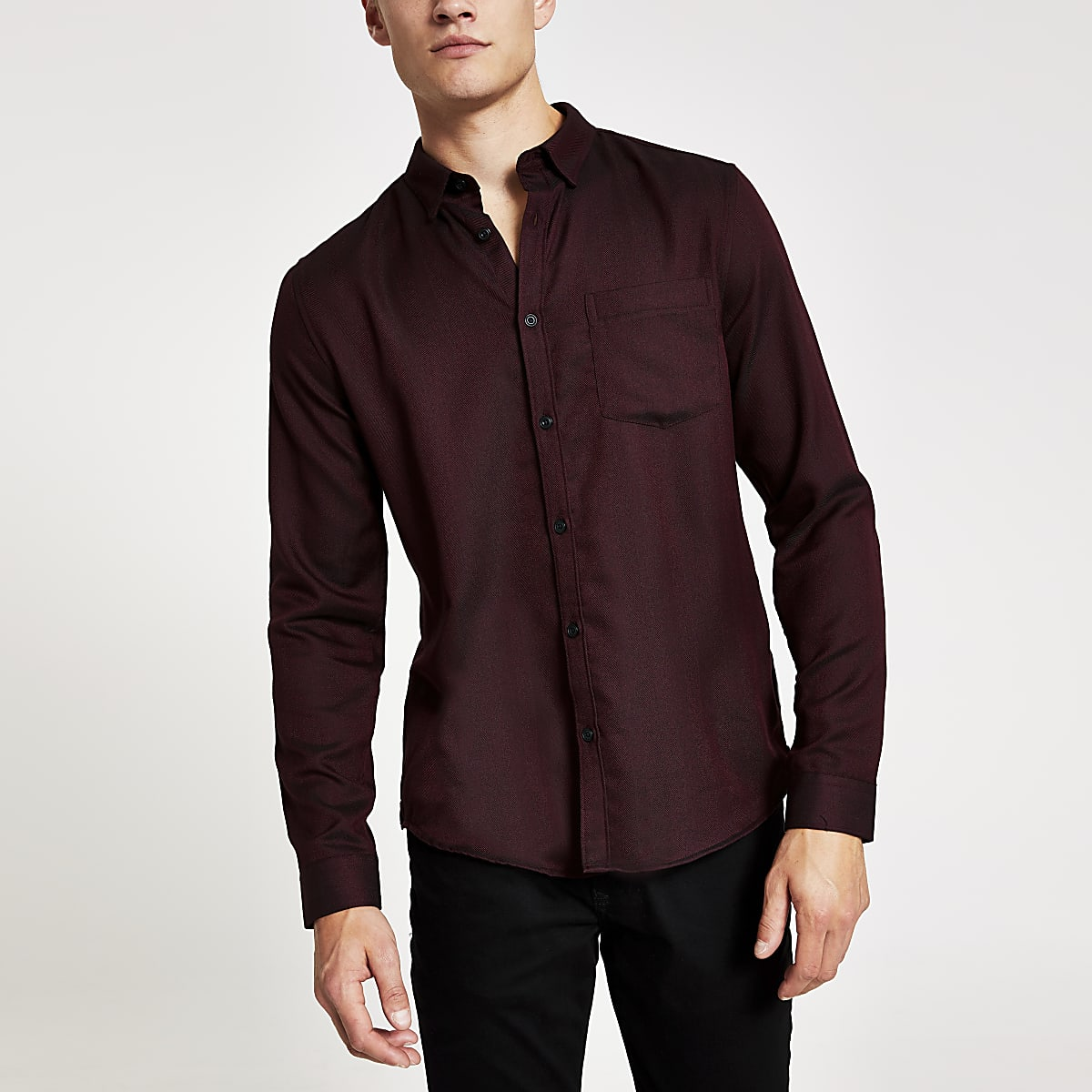 Red textured herringbone long sleeve shirt