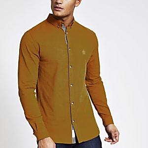 Geel slim-fit Oxford overhemd met lange mouwen
