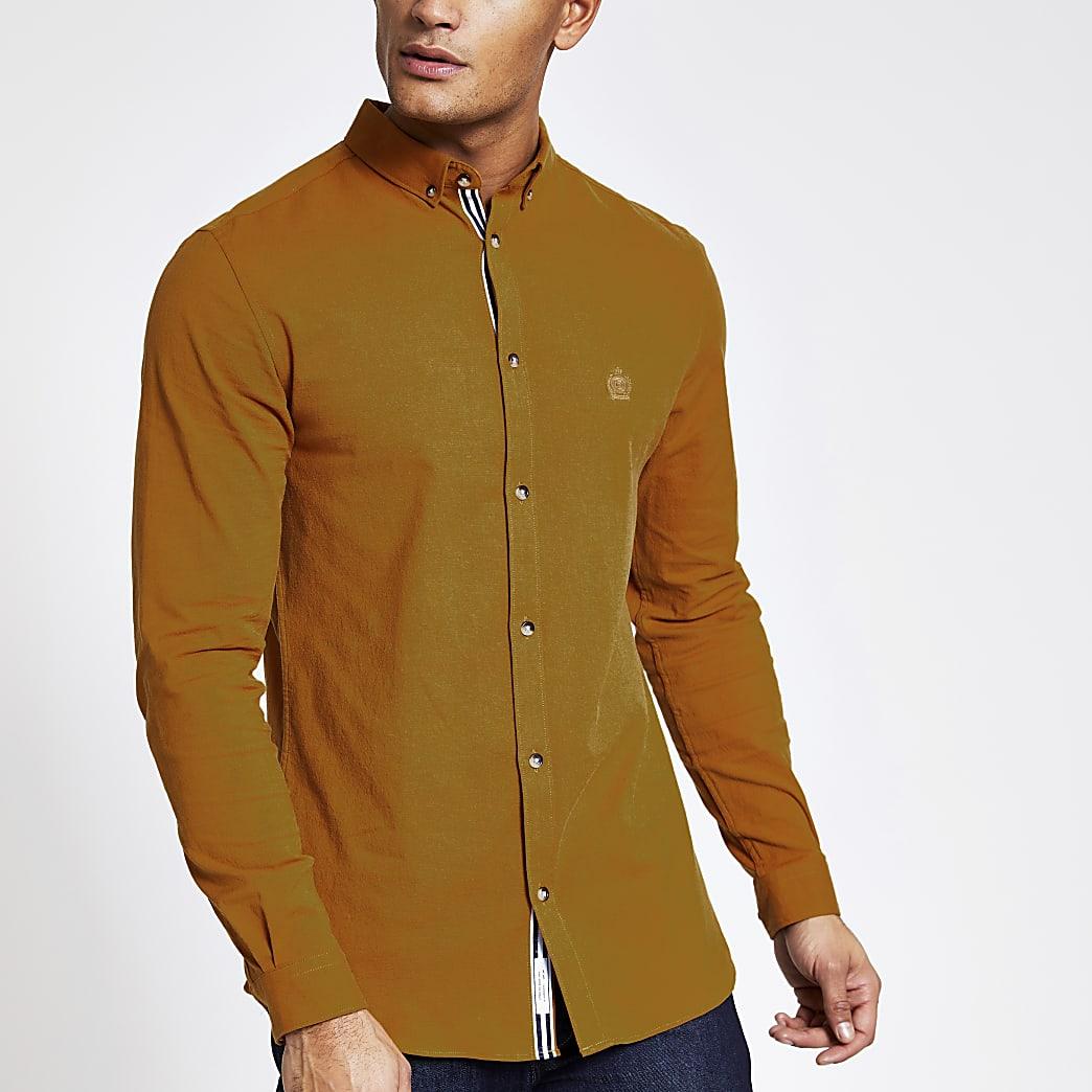 Yellow slim fit long sleeve Oxford shirt