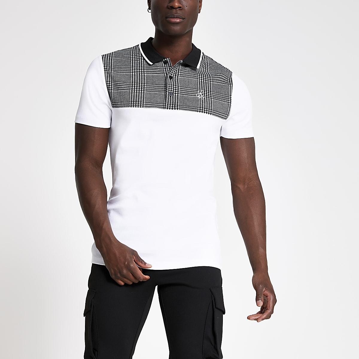 R96 – Weißes, kariertes Slim Fit Polohemd
