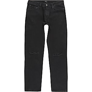Ronnie – Schwarze Straight Jeans im Used-Look