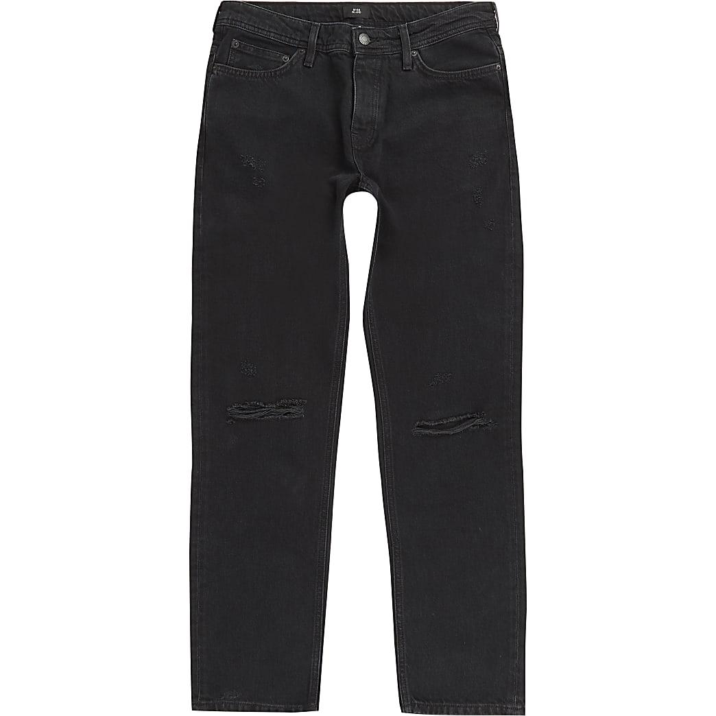 Ronnie - Zwarte relaxte rechte ripped jeans