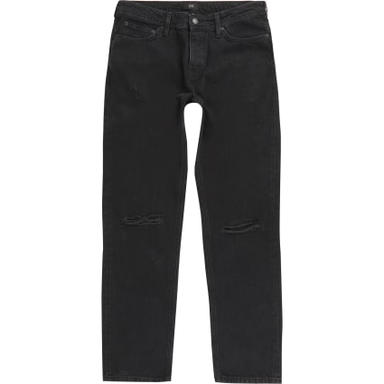 Black Ronnie relaxed straight ripped jeans