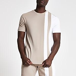 Lichtbruin slim-fit T-shirt met kleurvlakken