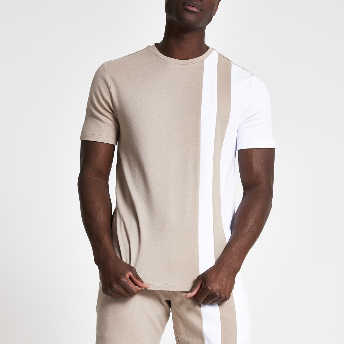 Light brown blocked slim fit T-shirt