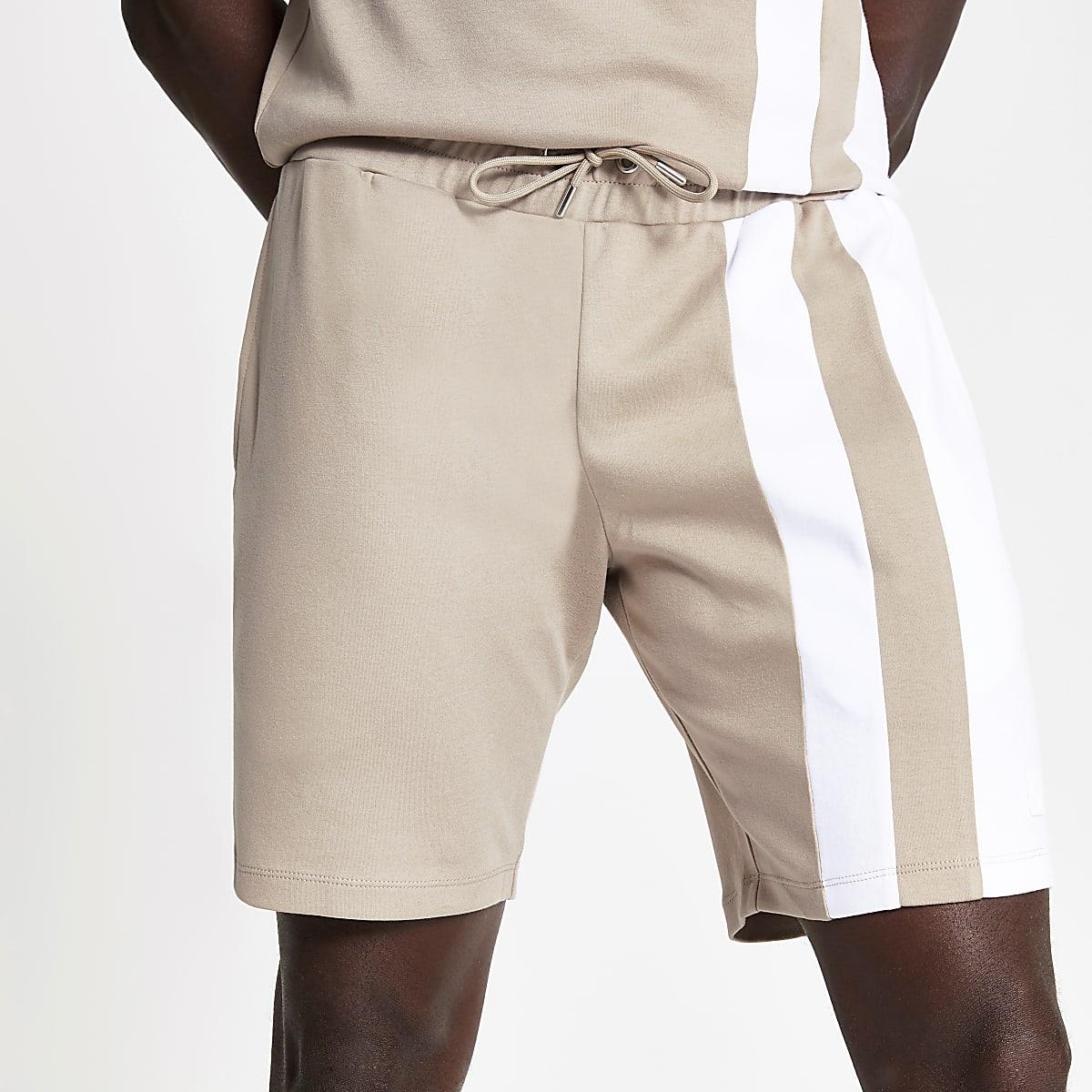 Light brown blocked slim fit jersey shorts