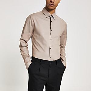 Kiezelkleurig slim-fit overhemd met lange mouwen
