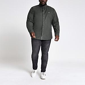 Big and Tall - Kaki Oxford overhemd met lange mouwen