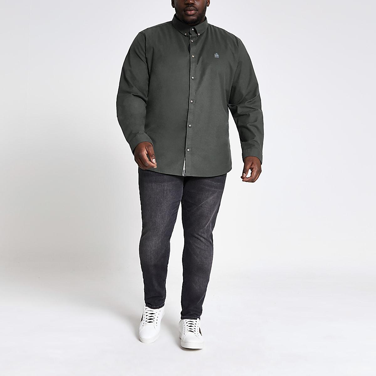 Big and Tall khaki long sleeve Oxford shirt