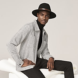 Grey herringbone long sleeve overshirt