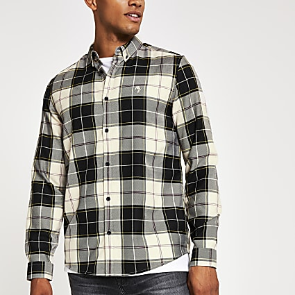 Black check regular fit long sleeve shirt