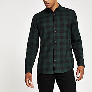 Donkergroen geruit slim-fit overhemd met lange mouwen