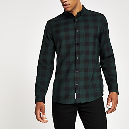 Dark green check slim fit long sleeve shirt