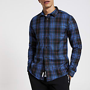 Blau kariertes Regular Fit Hemd