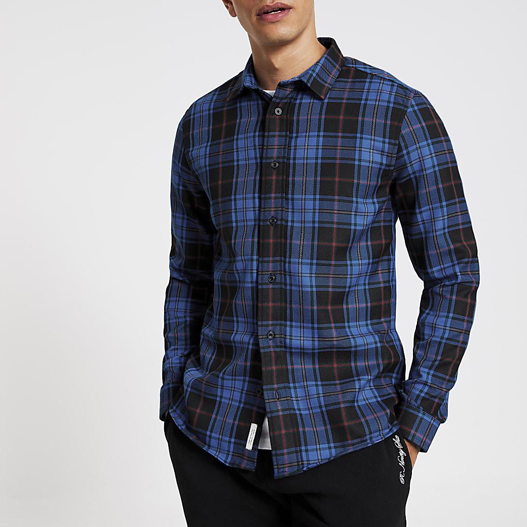 Blauw geruit overhemd met normale pasvorm