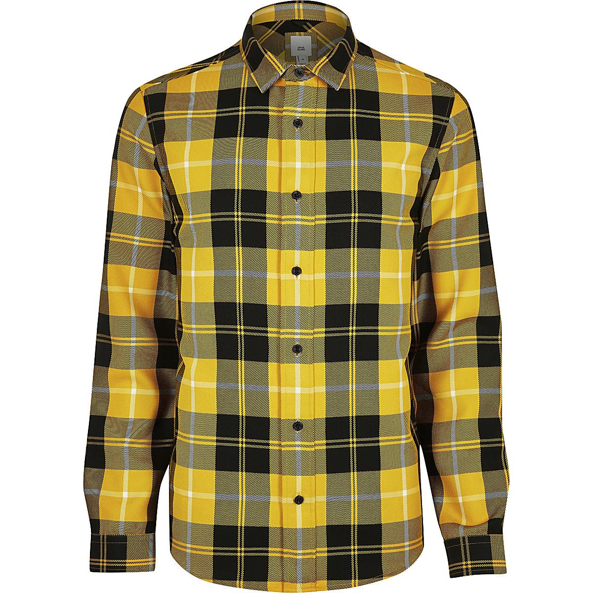 soldes 2019 professionnel remise spéciale de Yellow check regular fit shirt