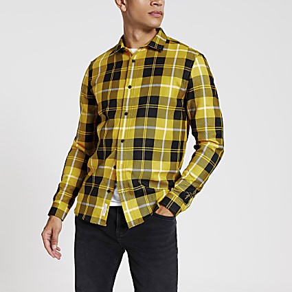 Yellow check regular fit shirt