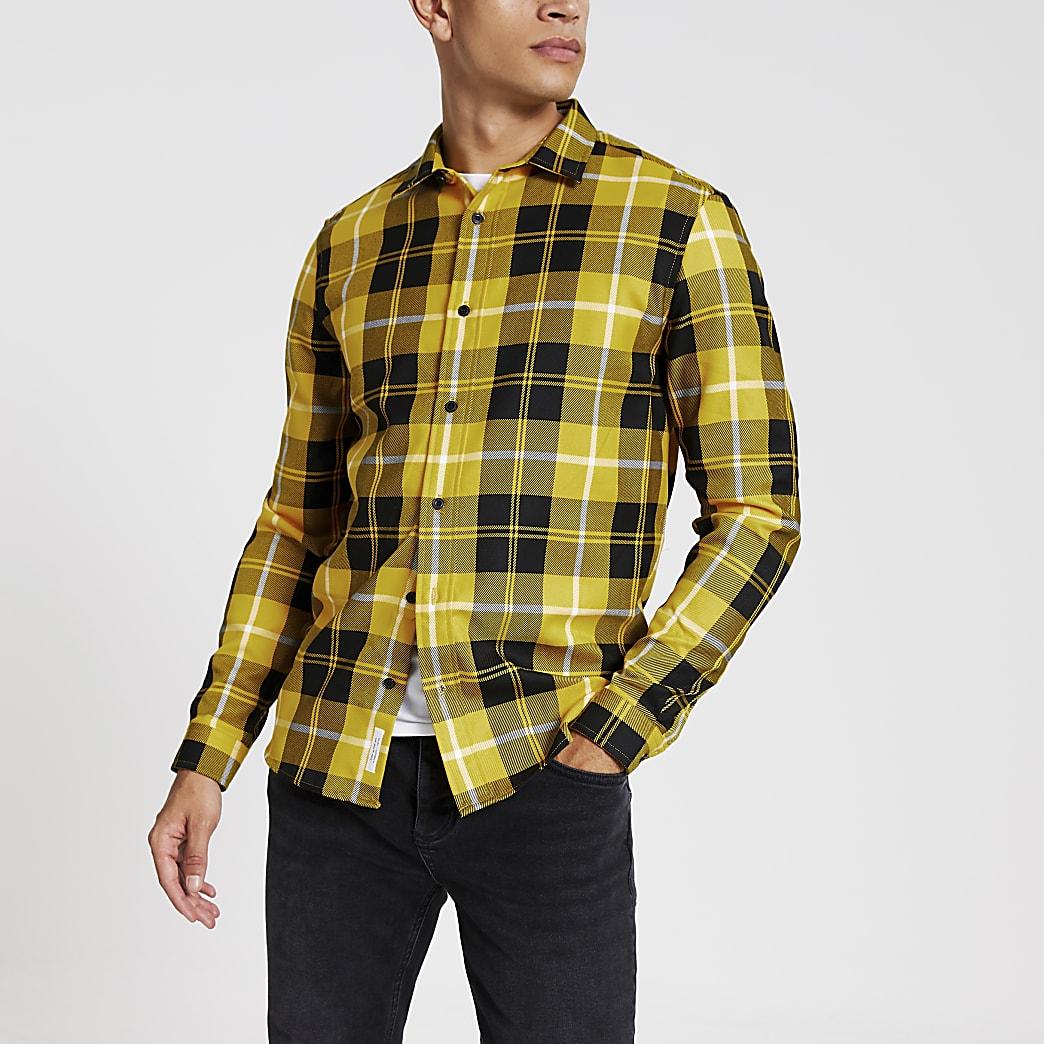 Geel geruit overhemd met normale pasvorm