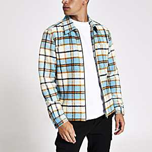 Blue check print zip shirt