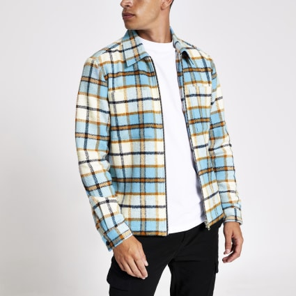 Blue check regular fit zip overshirt