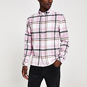 Langärmeliges Regular Fit Hemd in Rosa mit Karomuster