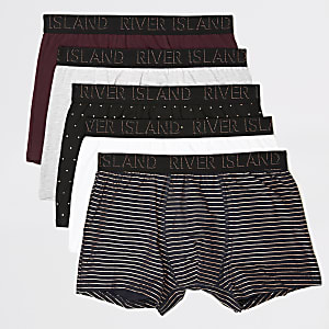 Set van5 bordeauxrode strakke boxers met RI-monogram