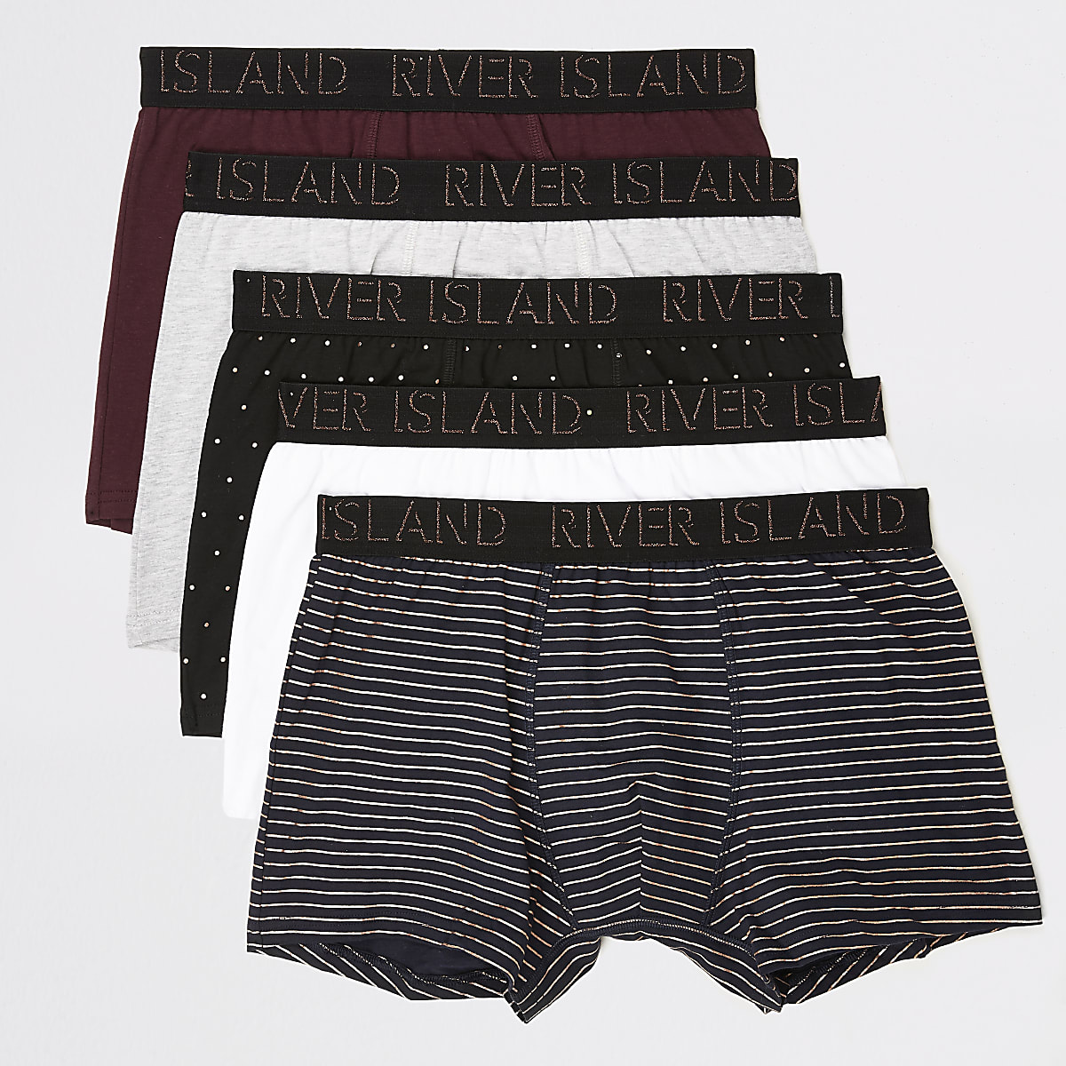 Burgundy RI monogram print trunk 5 pack