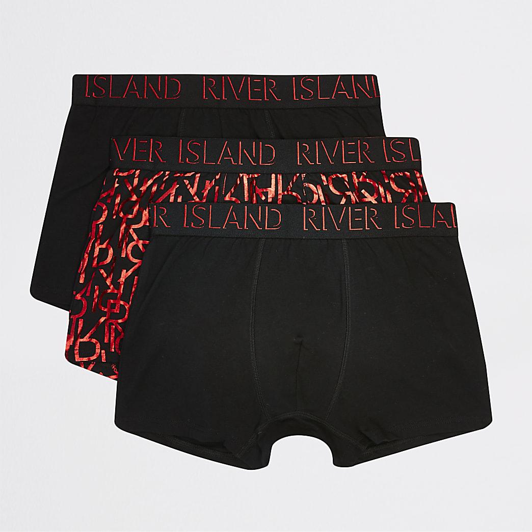 Lot de3 boxers longs noirs avec élémentsde marque RI