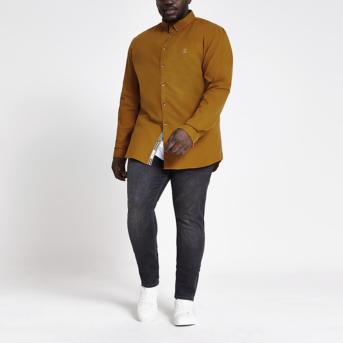 Big and Tall yellow long sleeve Oxford shirt