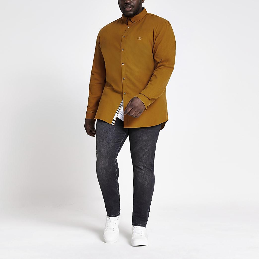 RI Big and Tall - Geel slim-fit Oxford overhemd