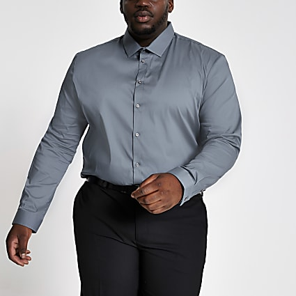 Big and Tall light blue muscle fit shirt