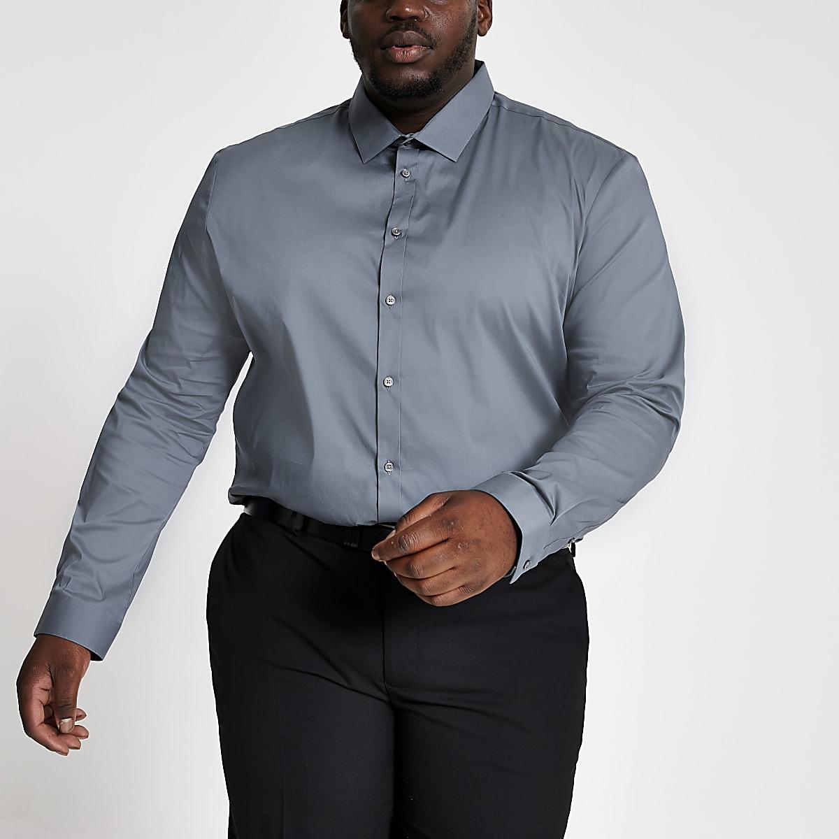 Big and Tall - Lichtblauw aansluitend overhemd
