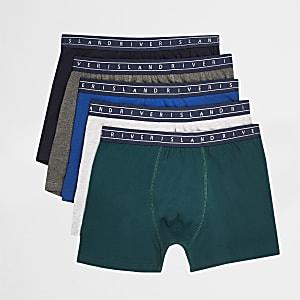 Blaue Boxershorts mit RI-Bund, 5er-Pack