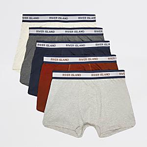 Meerkleurige stakke boxers met RI-monogram print set van 5