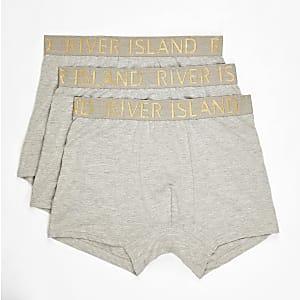 Lot de 3 boxers longs gris à logo RI à la taille