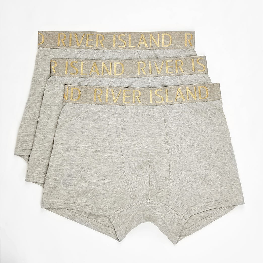 Grey RI waistband trunks 3 pack