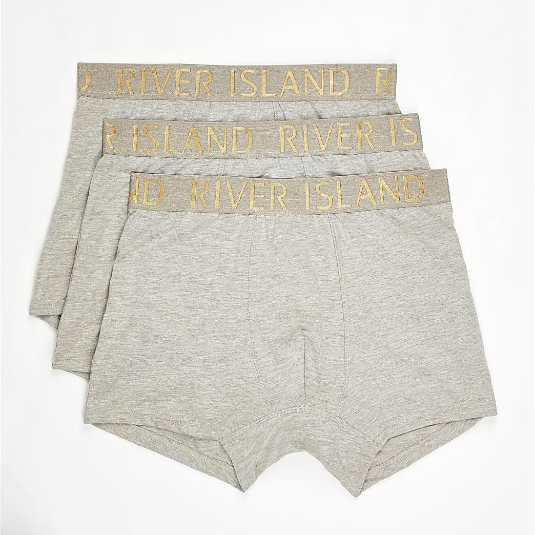 Set van 3 grijze strakke boxers met RI-logo op de tailleband