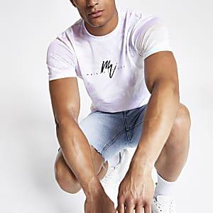 Wit smal T-shirt met 'Maison Riviera'- en marmerprint