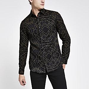 Schwarzes Hemd im Slim Fit mit Strass und Print