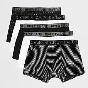 Set van 5 zilverkleurige strakke boxers met RI-logo op tailleband