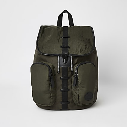 Khaki utility drawstring backpack