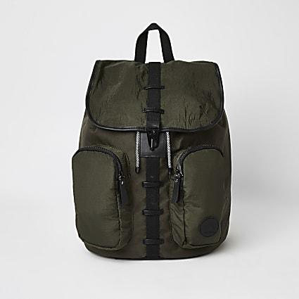 Khaki utility drawstring backpack