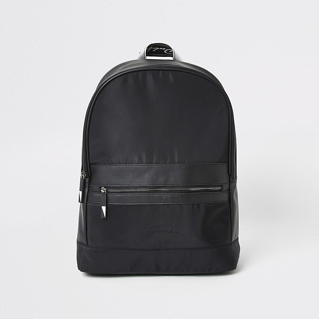 Prolific black tape zip front backpack
