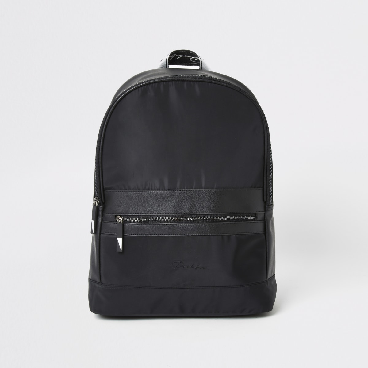 Prolific black tape zip front backpack