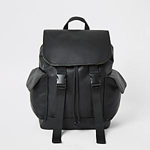 Schwarzer Rucksack mit Klappe und Doppelschnalle