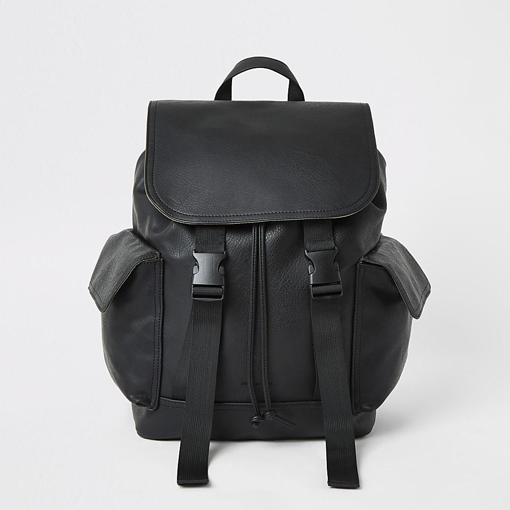Black double buckle flapover backpack